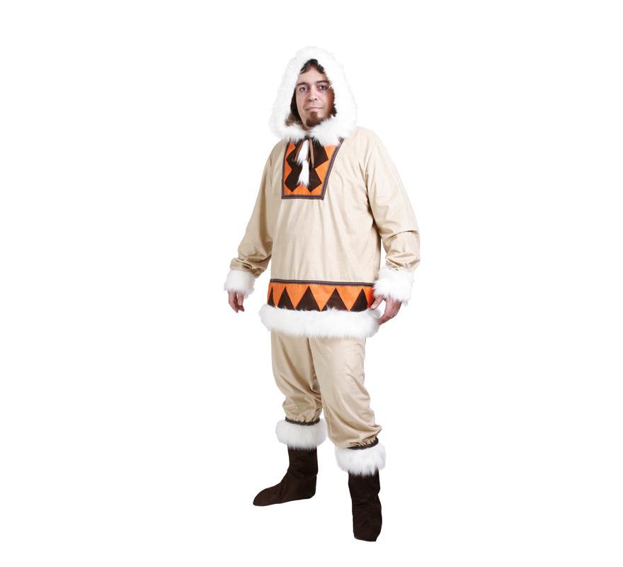 Disfraz de Esquimal hombre adulto para Carnaval. Alta calidad. Hecho en España. Talla única 52/56. Incluye chaqueta con capucha, pantalón y cubrebotas.