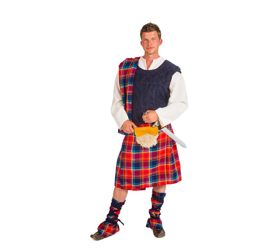 Disfraz de Escoces para Hombre. Talla única. Alta Calidad, hecho en España. Se compone de Chaleco con camisa, Troxo de tela del hombro, Bolsa de la cintura, Falda y Espinilleras. Completa este disfraz con artículos de nuestra sección de accesorios.