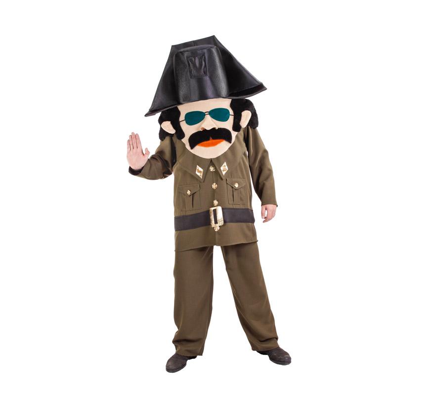Disfraz de Guardia Civil cabezudo para hombre. Talla Universal. Incluye disfraz completo. Alta calidad, fabricado en España.