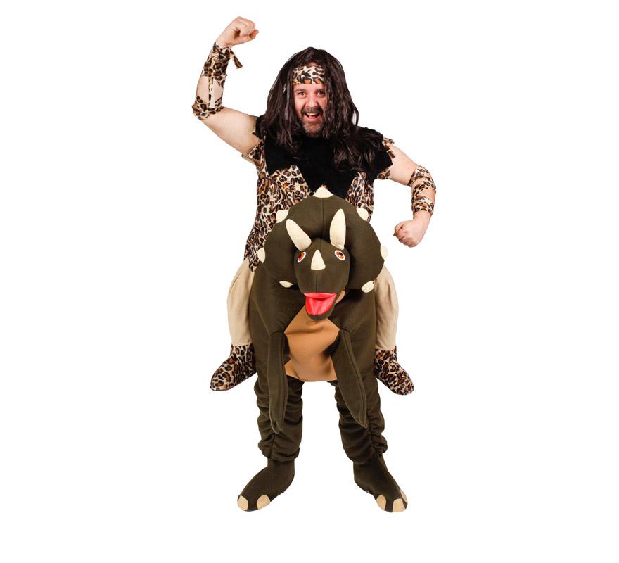 Disfraz de Troglodita o Cavernícola con Dino para adultos. Talla Universal. Incluye disfraz completo SIN peluca. Alta calidad, fabricado en España.