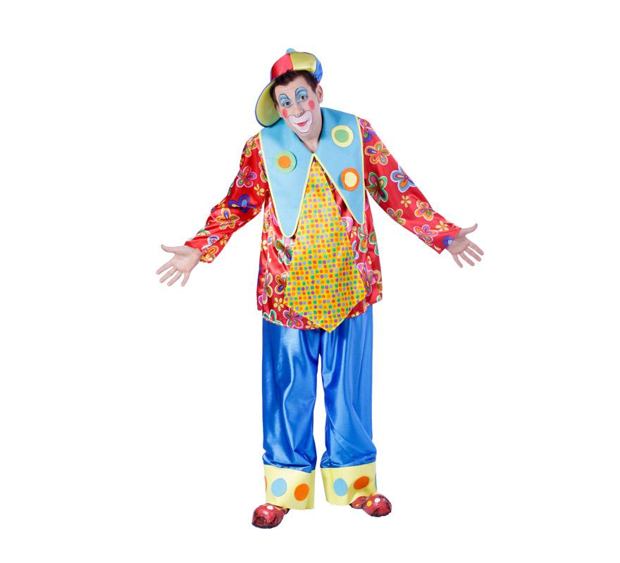 Disfraz de Payaso o Payasito adulto para Carnaval. Talla única 50. Zapatones NO incluidos, podrás verlos en la sección de Complementos para Carnaval. Buena calidad. Hecho en España.