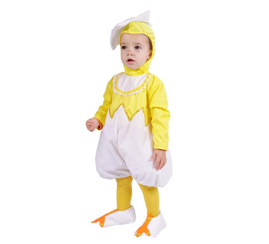Disfraz de Pollito bebé para Carnaval. Talla de 18 meses. Alta calidad. Hecho en España. Incluye mono con capucha y piernas.