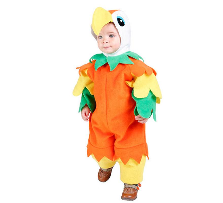 Disfraz de Periquito o disfraz de Loro bebé para Carnaval. Talla de 18 meses. Incluye mono y capucha. Buena calidad. Hecho en España.