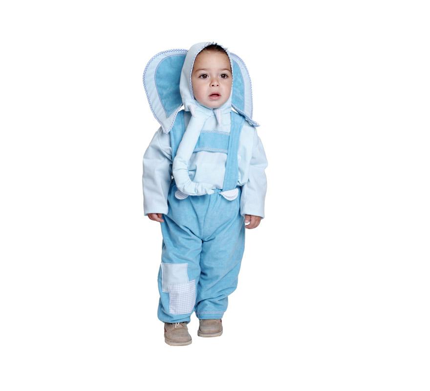 Disfraz barato de Elefante o Elefantito bebé para Carnaval. Talla de 18 meses. Incluye mono y capucha. Buena calidad. Hecho en España.