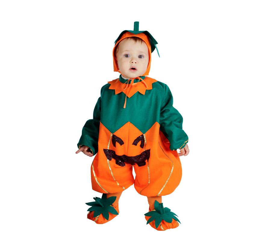 Pelele Calabaza bebé barato para Halloween. Talla de 6 a 12 meses. Incluye pelele, cubrepies y capucha. Buena calidad. Hecho en España.
