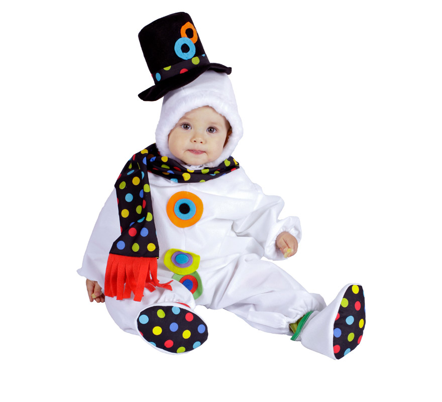 Pelele Muñeco de Nieve bebé para Navidad. Talla de 6 a 12 meses. Incluye pelele con gorrito y bufanda. Buena calidad. Hecho en España.