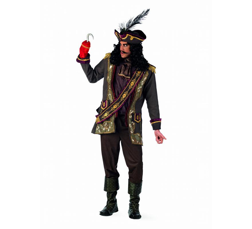Disfraz de Capitán Garfio Extraluxe para hombre. Alta calidad, hecho en España. Disponible en varias tallas. Incluye chaqueta con pañuelo y banda, pantalón, cubrebotas, sombrero y garfio.