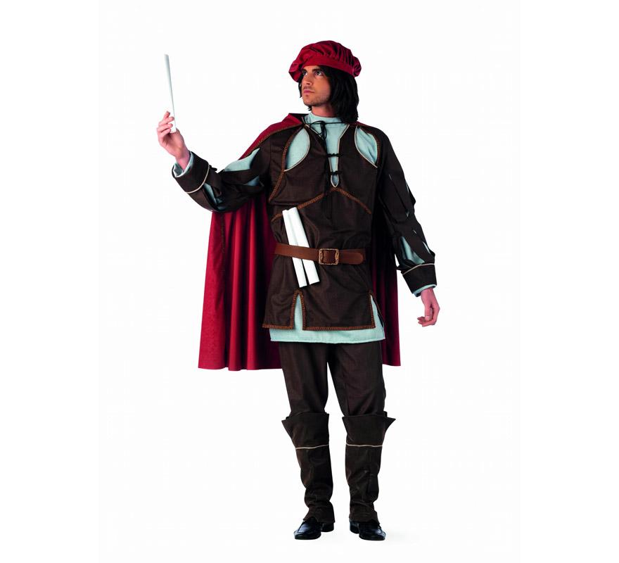 Disfraz de Leonardo Da Vinci extraluxe para hombre. Alta calidad, hecho en España. Disponible en varias tallas. Incluye túnica, casaca, capa, pantalón, cinturón, gorro y cubrebotas. Pergamino NO incluido.