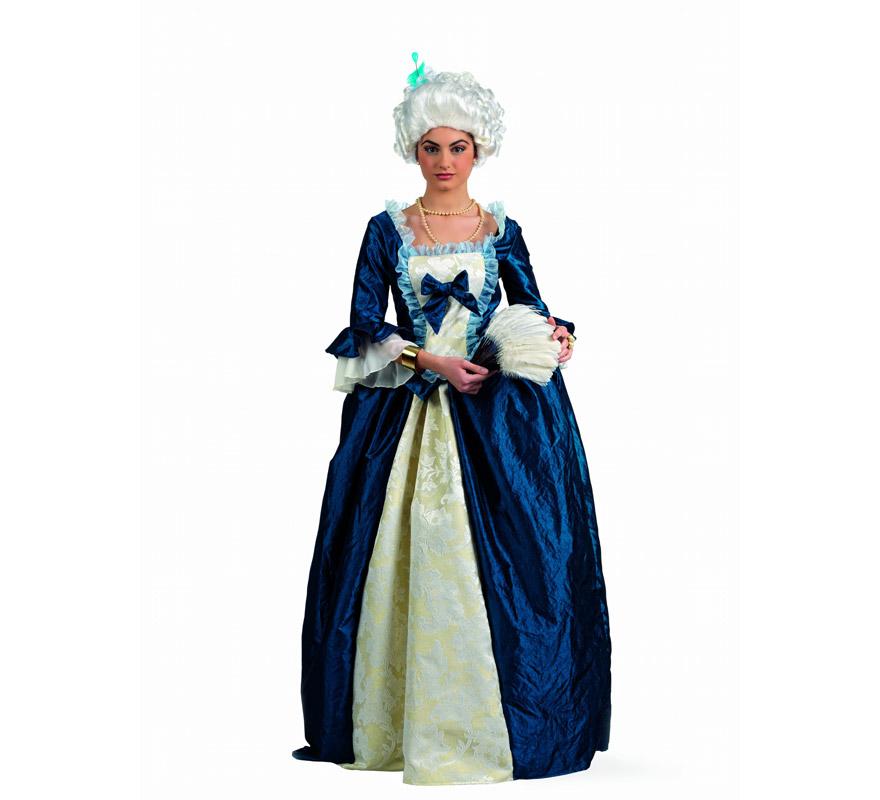 Disfraz de Época de Mª Antonieta Superluxe para mujer. Alta calidad, hecho en España. Disponible en varias tallas. Incluye falda, corpiño y cojín interno. Peluca, collar y abanico NO incluidos, podrás encontrarlos en nuestra sección de Complementos.