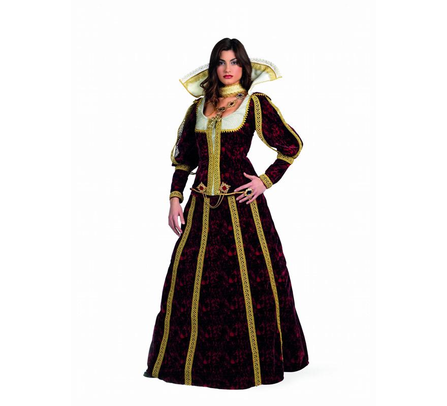Disfraz de Lucrecia Superluxe para mujer. Alta calidad, hecho en España. Disponible en varias tallas. Incluye chaqueta, falda y gargantilla. Anillo y medallón  NO incluidos, podrás encontrarlos en nuestra sección de Complementos. Para representar a la Marquesa de Santillana.