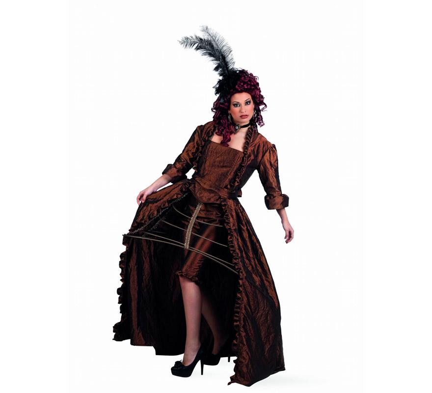 Disfraz de Diva Época Oro Superluxe para mujer. Alta calidad, hecho en España. Disponible en varias tallas. Incluye vestido, cinturón, corpiño, pololo y miriñaque. Peluca, pluma, pendientes y collar NO incluidos, podrás encontrarlos en nuestra sección de Complementos.
