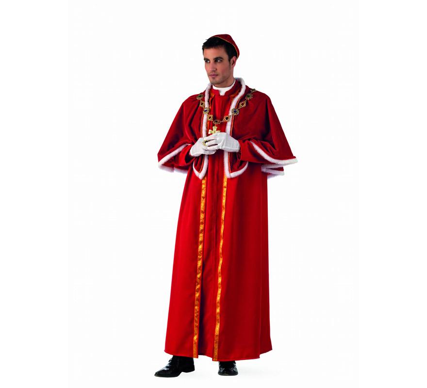 Disfraz de Papa Borgia extraluxe para hombre. Alta calidad, hecho en España. Disponible en varias tallas. Incluye túnica, capelina y gorro. Anillo, guantes y medallón NO incluidos, podrás encontrarlos en nuestra sección de Complementos.