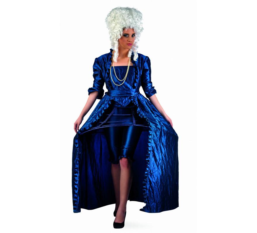 Disfraz de Diva Época Azul Superluxe para mujer. Alta calidad, hecho en España. Disponible en varias tallas. Incluye vestido, cinturón, corpiño, pololo y miriñaque. Peluca y collar NO incluidos, podrás encontrarlos en nuestra sección de Complementos.