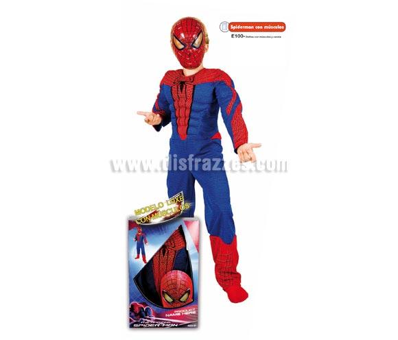 Disfraz de Spiderman con músculos para niños. Varias tallas. Incluye disfraz con músculos y careta. Disfraz con Licencia MARVEL perfecto para dar una sorpresa a cualquier niño en Navidad y Reyes Magos o en cualquier ocasión del año. Presentación en caja regalo.