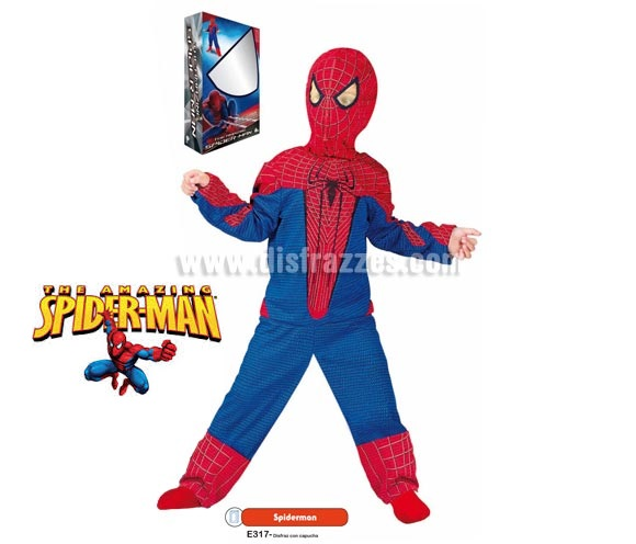 Disfraz de Spiderman para niños (varias tallas disponibles). Incluye disfraz con capucha. Disfraz con Licencia MARVEL perfecto para pedírselo a los Reyes Magos o Papa Noel. Presentación en caja regalo.