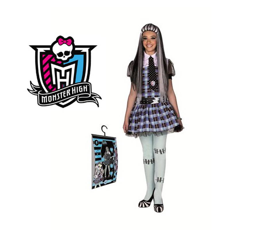 Disfraz de Frankie Stein de MONSTER HIGH para nias. Varias tallas. Incluye vestido, corbata y cinturn. Disfraz con Licencia MONSTER HIGH que tanto gusta a las nias ideal para regalar en Navidad y en cualquier ocasin del ao. Presentacin en percha y bolsa.