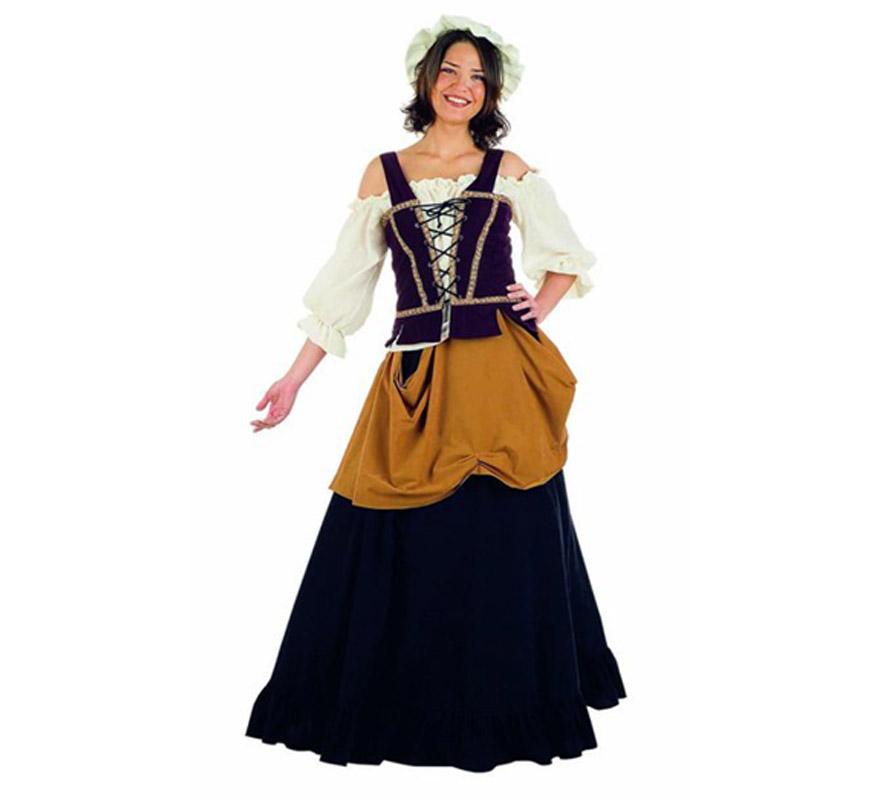 Disfraz de Mujer de Mercado Medieval Superluxe. Alta calidad en telas y acabados. Fabricado en España. Disponible en varias tallas. Incluye camisa, falda, gorro y corpiño. Disfraz de Tabernera, Mesonera o Posadera.