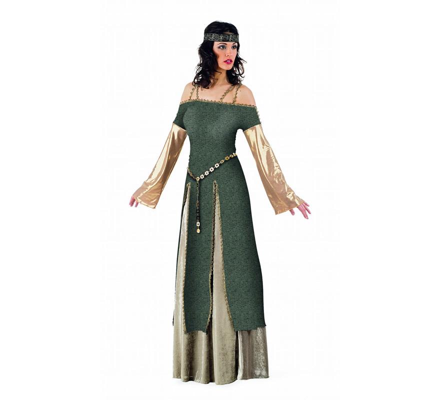 Disfraz de Lady Ginebra Medieval Superluxe. Alta calidad en telas y acabados. Fabricado en España. Disponible en varias tallas. Incluye falda, cinturón, casaca y cinta de la cabeza.