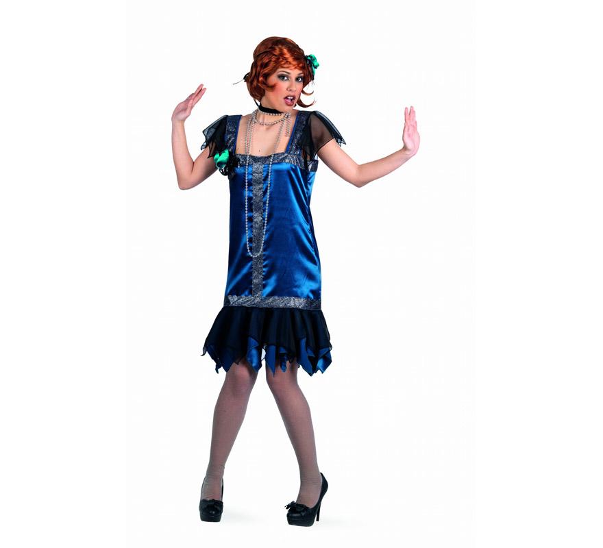 Disfraz de Charlestón Azul Superluxe para mujer. Alta calidad, hecho en España. Disponible en varias tallas. Incluye vestido y cinta de la cabeza. Collar No incluido, podrás encontrar en nuestra sección de Complementos.