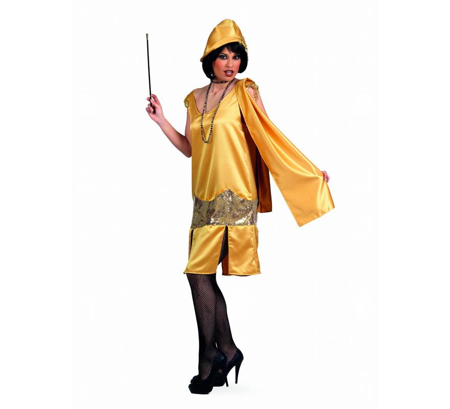 Disfraz de Charlestón Oro Superluxe para mujer. Alta calidad, hecho en España. Disponible en varias tallas. Incluye vestido y gorro. Boquilla, collar y medias No incluidas, podrás encontrarlos en nuestra sección de Complementos.