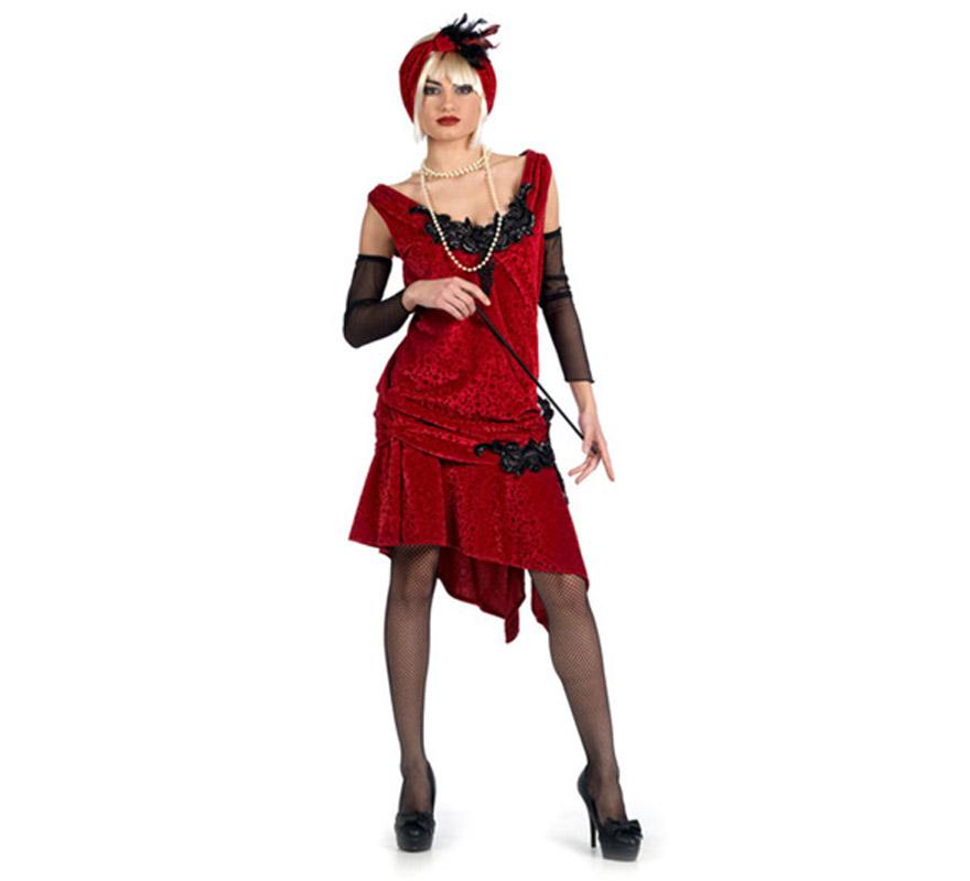Disfraz de Charlestón Brocado Superluxe para mujer. Alta calidad, hecho en España. Disponible en varias tallas. Incluye vestido, turbante y manguitos. Boquilla, collar y medias No incluidas, podrás encontrar en nuestra sección de Complementos.