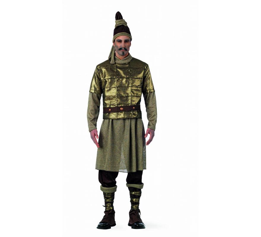 Disfraz de Guerrero de Xian Extraluxe para hombre. Alta calidad, hecho en España. Disponible en varias tallas. Incluye casaca, pantalón, falda, cinturón, coraza, polainas, y gorro.