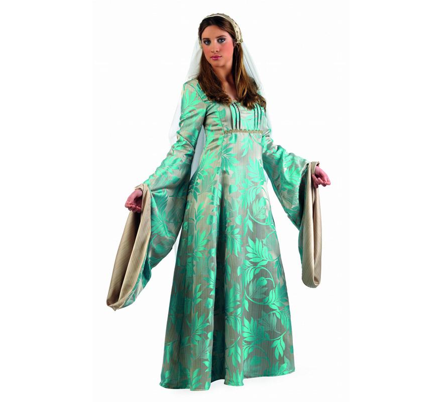 Disfraz de Reina Medieval Violante Superluxe mujer. Alta calidad, hecho en España. Disponible en varias tallas. Incluye vestido, manguitos y tocado de la cabeza.