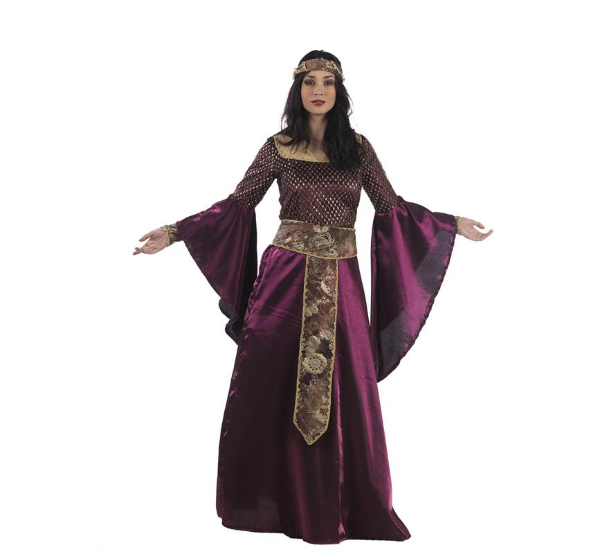 Disfraz de Leonor Aquitania Medieval Deluxe para mujer. Alta calidad, hecho en España. Disponible en varias tallas. Incluye vestido, cinturón y turbante.
