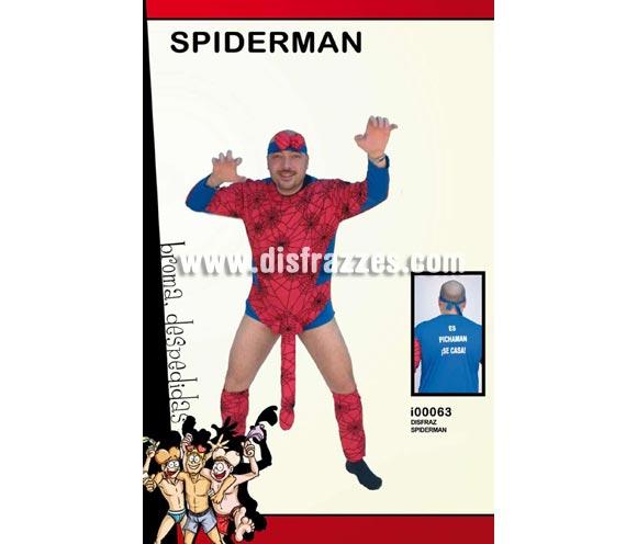 Disfraz de Spiderman con sorpresa adulto. Talla Universal. Incluye cinta de la cabeza, mono con Sorpresa y con impresión ESPICHAMAN SE CASA y calentadores.. Un disfraz ideal para Despedidas de Soltero.