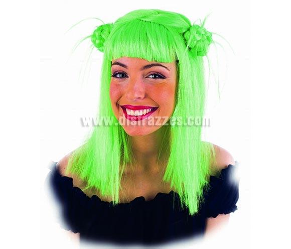 Peluca Hada con nudos verde deluxe. Alta calidad. Talla universal.