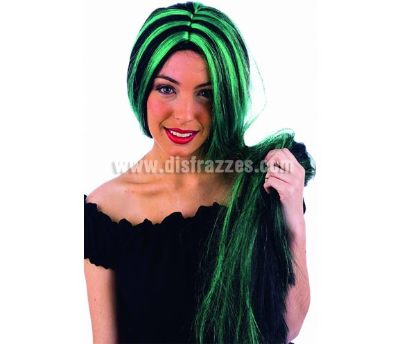 Peluca larga mechas verde-negro deluxe. Alta calidad.
