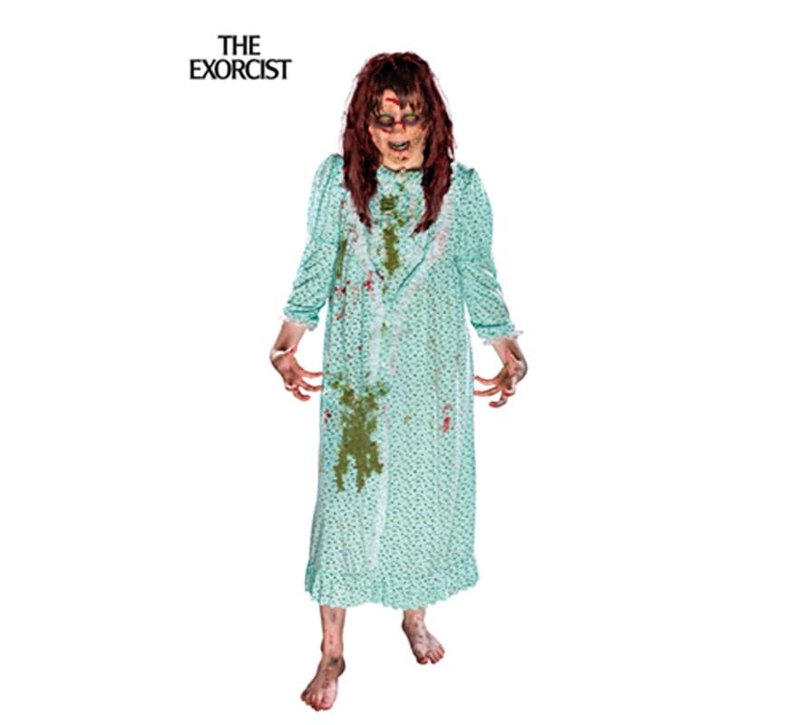 Disfraz de película Niña del Exorcista para mujer. Talla Standar. Incluye camisón y peluca. Disfraz de la diabólica posesión de Regan MacNeil perfecto para Halloween.