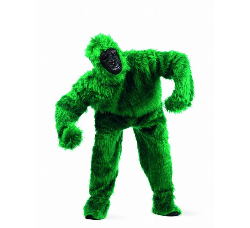 Disfraz de Gorila Verde Deluxe para hombre. Disponible en varias tallas. Incluye traje completo y cabeza. Disfraz de King Kong para divertirse en Carnavales. Alta calidad. Hecho en España.