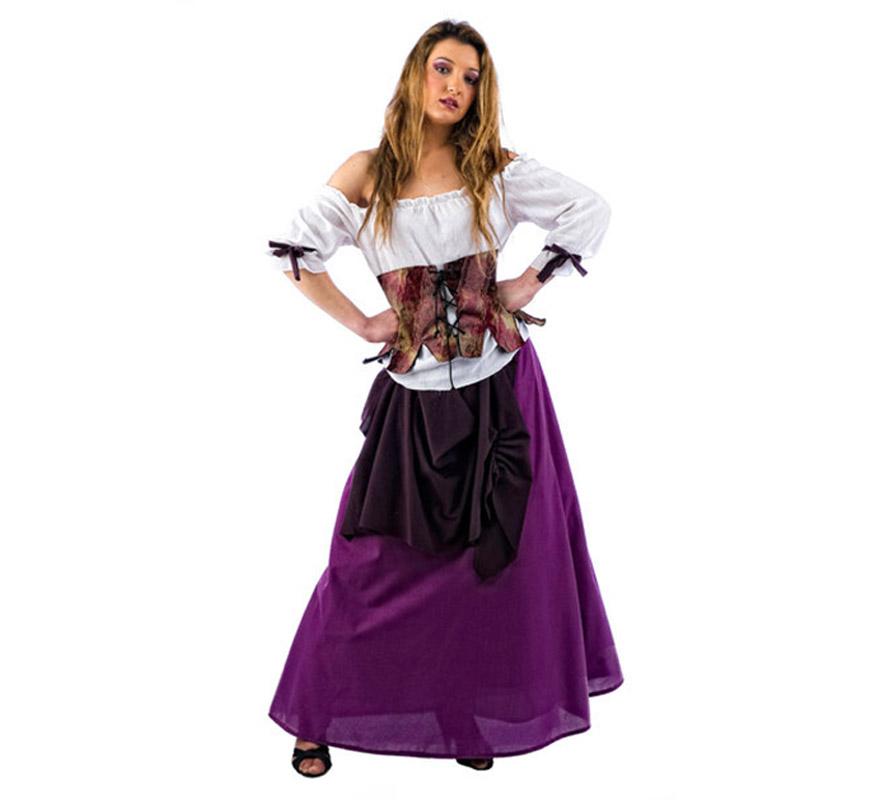 Disfraz de Tabernera Medieval Greta Deluxe para mujer. Alta calidad, hecho en España. Disponible en varias tallas. Incluye camisa, corpiño y falda.