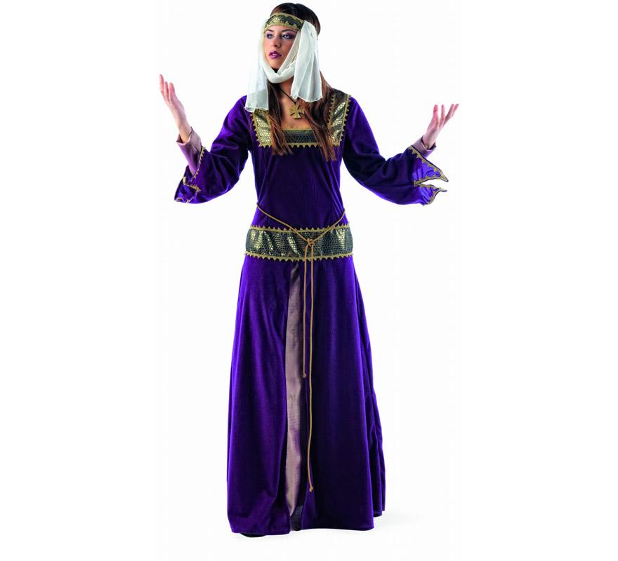 Disfraz de Medieval Jimena Deluxe para mujer. Alta calidad, hecho en España. Disponible en varias tallas. Incluye vestido y cinta de la cabeza con velo.