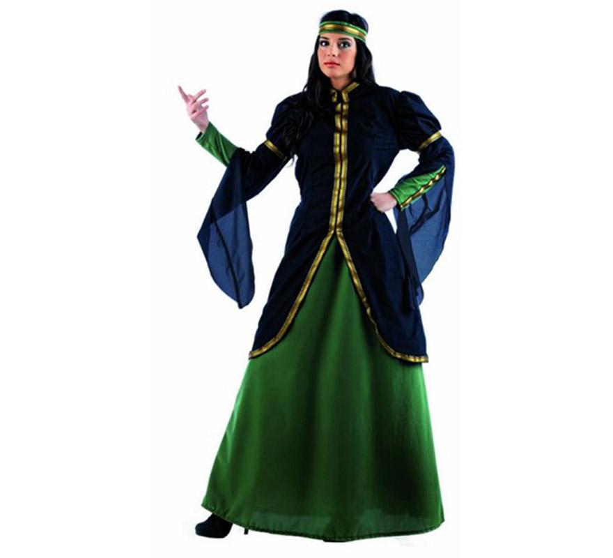 Disfraz de Reina Medieval Deluxe para mujer. Alta calidad, hecho en España. Disponible en varias tallas. Incluye camisa, falda y cinta de la cabeza.