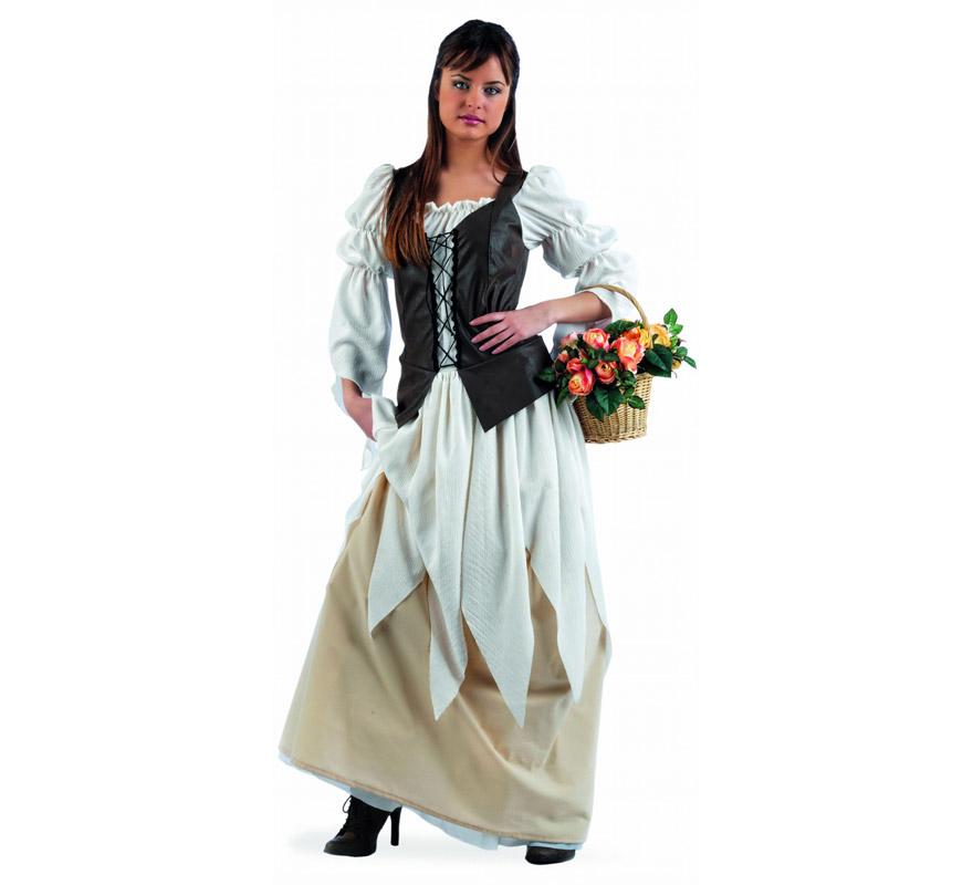 Disfraz Tabernera Medieval Eugenia Deluxe para mujer. Alta calidad, hecho en España. Disponible en varias tallas. Incluye vestido. Cesta NO inlcuida.