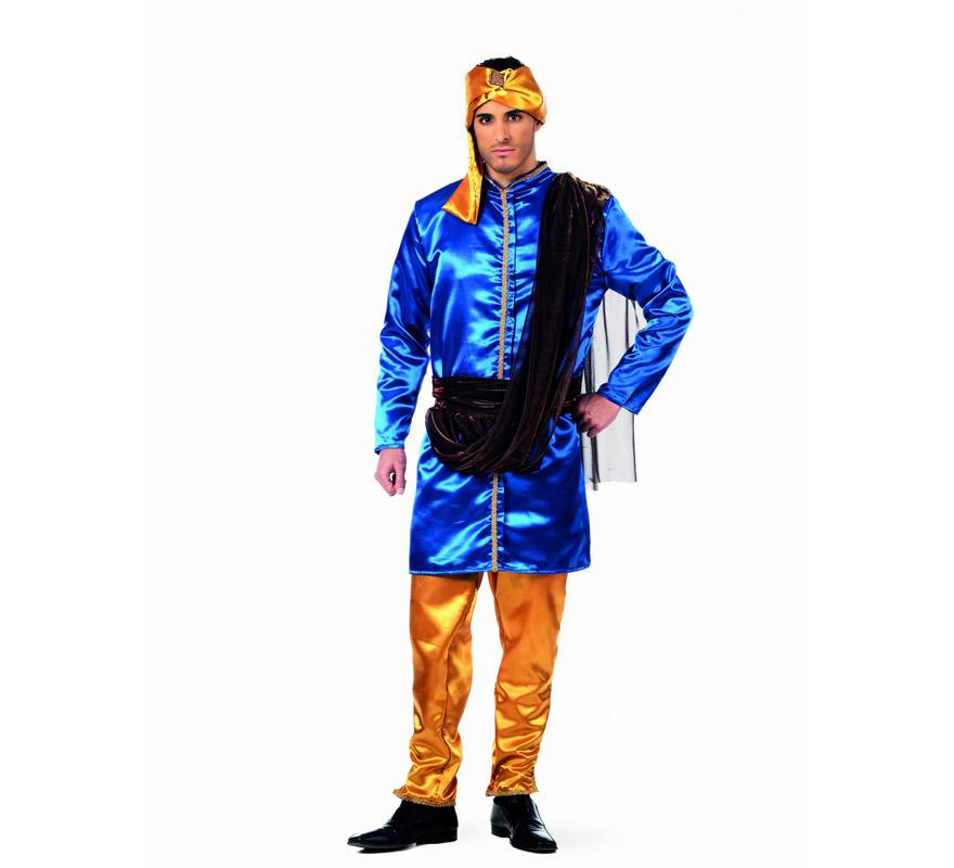Disfraz de Hindú Murali Deluxe para hombre. Alta calidad. Hecho en España. Disponible en varias tallas. Incluye túnica, pantalón, fajín y turbante. Disfraz de Paje para Belén de Navidad.