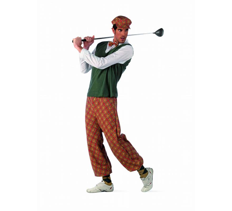 Disfraz de Jugador de Golf Deluxe para hombre. Alta calidad, hecho en España. Disponible en varias tallas. Incluye camisa, pantalón, gorro y calcetines. Palo de Golf NO incluido.