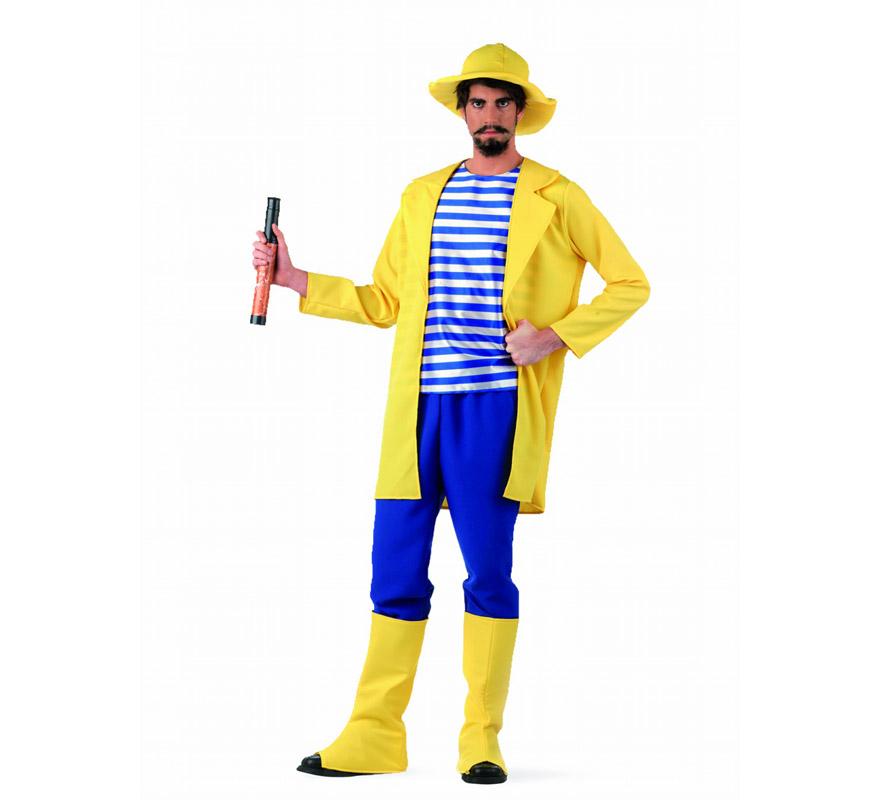 Disfraz de Pescador Deluxe para hombre. Alta calidad, hecho en España. Disponible en varias tallas. Inlcuye chaqueta, pantalón, gorro y cubrebotas. Catalejo NO incluido, podrás encontrarlo en nuestra sección de Complementos.