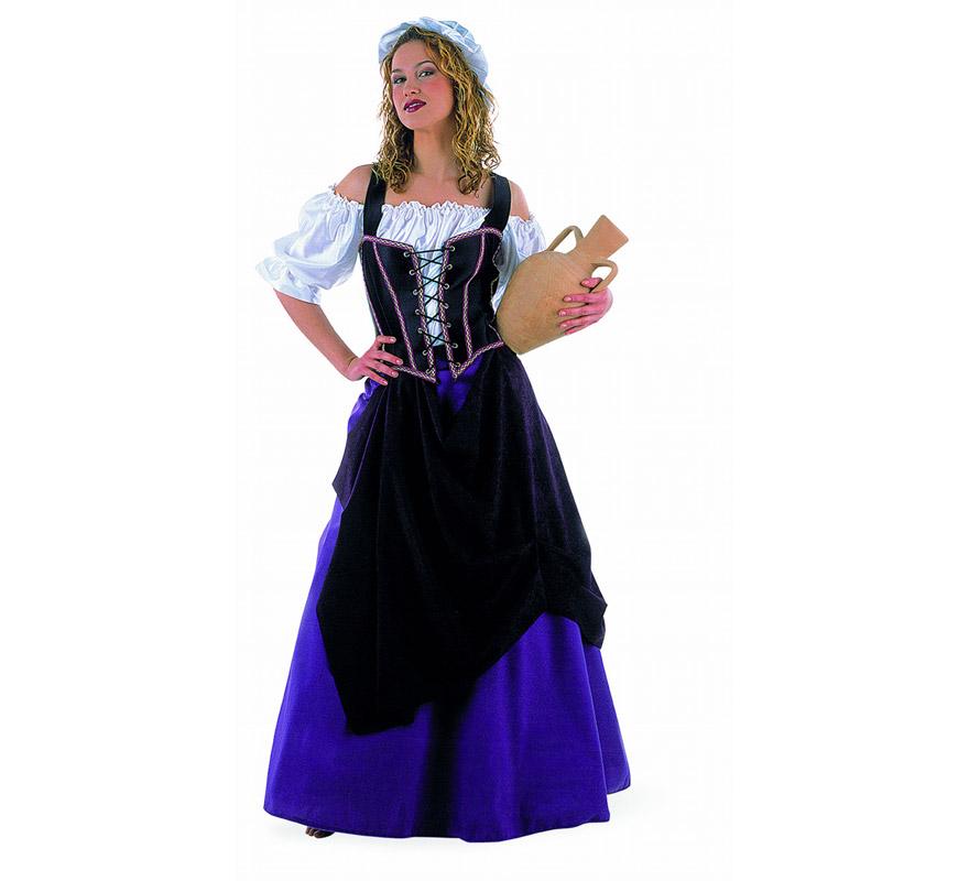 Disfraz de Tabernera Medieval adulta Deluxe. Alta calidad. Hecho en España. Disponible en varias tallas. Incluye camisa, falda, gorro y corpiño. Disfraz de Mesonera o Posadera. Jarro NO incluido.