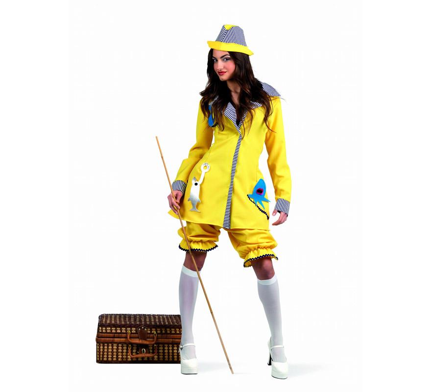 Disfraz Pescadora Deluxe para mujer. Alta calidad, hecho en España. Disponible en varias tallas. Incluye vestido pololos y gorro. Caña, cesta y medias NO incluidas.