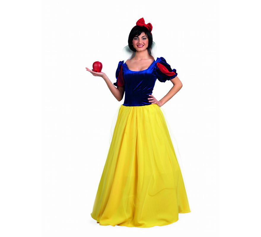 Disfraz de Blancanieves Deluxe para mujer. Alta calidad, hecho en España. Disponible en varias tallas. Incluye vestido y diadema. Manzana NO incluida.