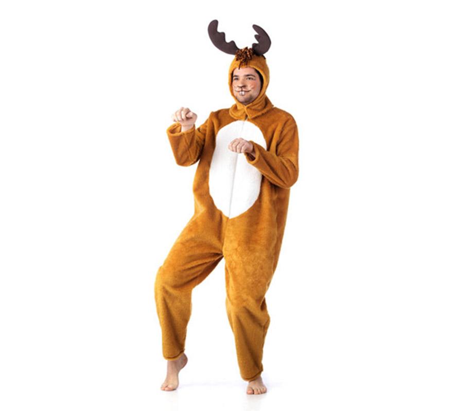 Disfraz de Reno Navidad Deluxe para hombre. Alta calidad, hecho en España. Disponible en varias tallas. Incluye mono y gorro.