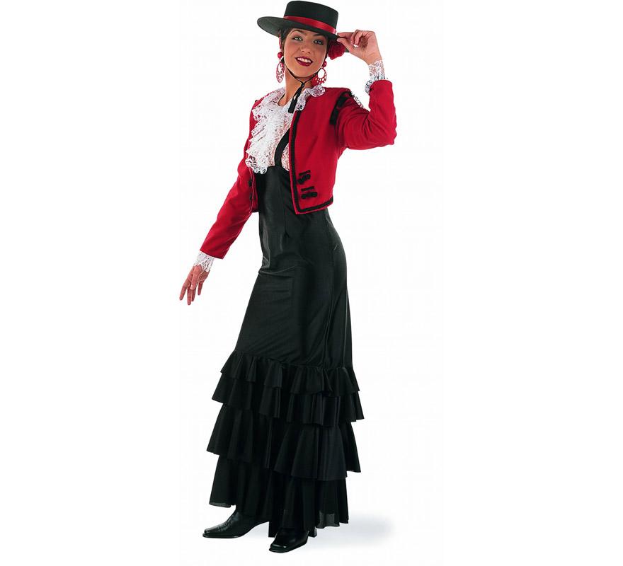 Disfraz de Cordobesa adulta Deluxe. Alta calidad. Hecho en España. Disponible en varias tallas. Incluye falda con tirantes y chaqueta con camisa. Sombrero NO incluido. Podrás verlo en la sección Complementos.