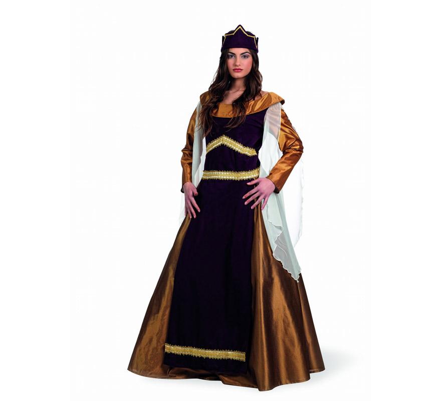 Disfraz Medieval de las Cruzadas Leonor Deluxe. Alta calidad, hecho en España. Disponible en varias tallas. Incluye túnica, falda y corona.