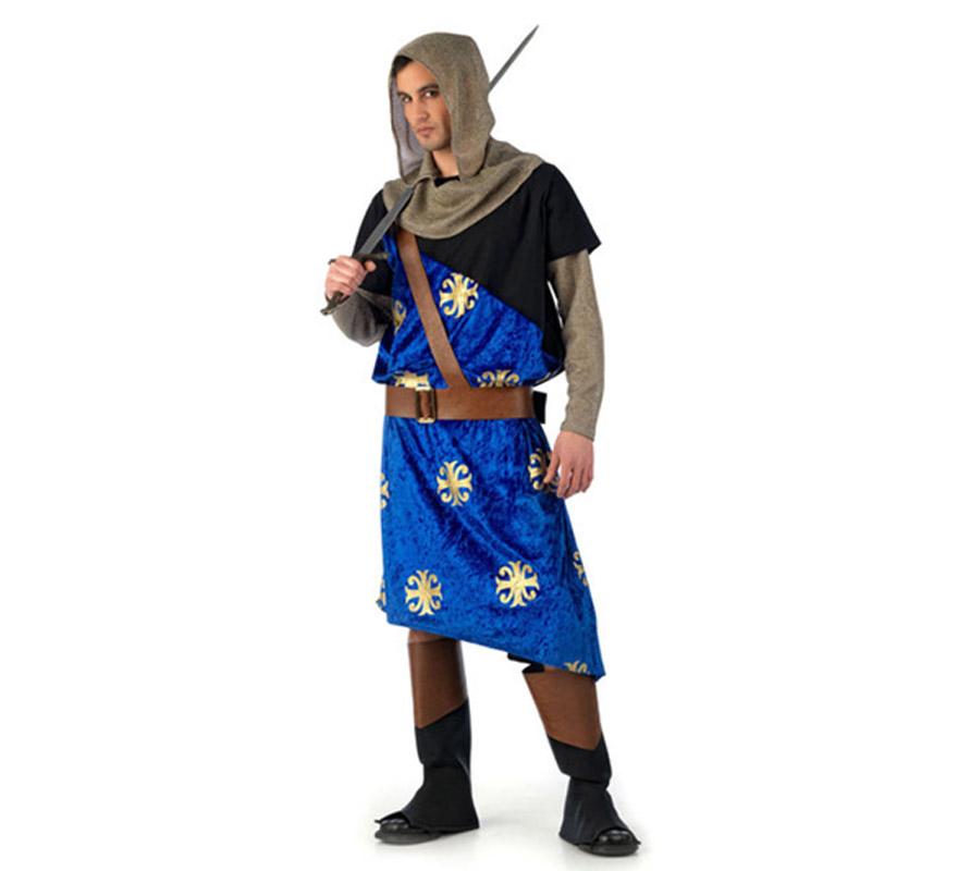 Disfraz Medieval de las Cruzadas Rodrigo Deluxe. Alta calidad, hecho en España. Disponible en varias tallas. Incluye túnica, capucha y cubrebotas.