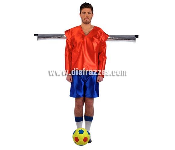 Disfraz de muñeco de Futbolín Deluxe para hombre. Alta Calidad, hecho en España. Disponible en varias tallas. Incluye camiseta, pantalón, calcetines y tubo. Balón No incluido.