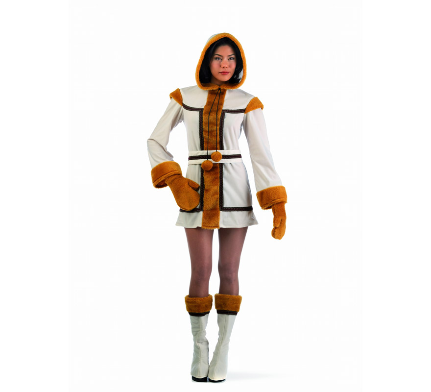 Disfraz de Esquimal Pinga Deluxe para mujer. Alta calidad, hecho en España. Disponible en varias tallas. Incluye vestido con capucha, cinturón, manguitos y cubrebotas. La pareja de este disfraz es la referencia MA345LI.