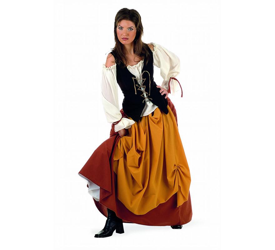Disfraz de Campesina Medieval adulta Deluxe. Alta calidad. Hecho en España. Disponible en varias tallas. Incluye corpiño con camisa y falda.